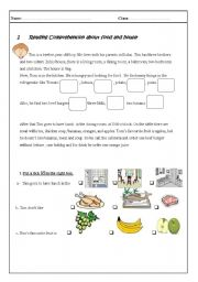 English Worksheet: reading comprehension about food
