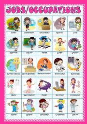 English Worksheets: JOBS/OCCUPATIONS - PICTIONARY/POSTER(Fully editable)