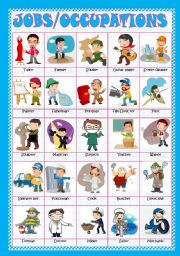 English Worksheet: JOBS/OCCUPATIONS - PICTIONARY/POSTER(Fully editable)