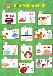 English worksheet: Rebuses about animals