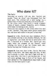 English Worksheet: who done it? alibi game