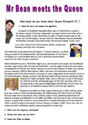 English Worksheet: Mr Bean meets the Queen- VIDEO SESSION (6:24)
