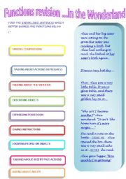 English Worksheets: FUNCTIONS REVISION...IN THE WONDERLAND  1
