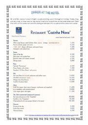 English Worksheet: Restaurant menu and dialogue_part 1