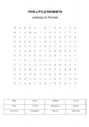 English Worksheet: Five little monkeys jumping on the bed - Word puzzle