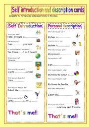 self introduction and description cards