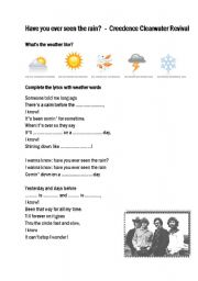 English Worksheet: Have you ever seen the rain?