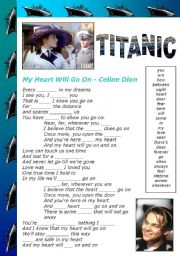 English Worksheets: MY HEART WILL GO ON (TITANIC) - FILL IN THE BLANKS (editable)