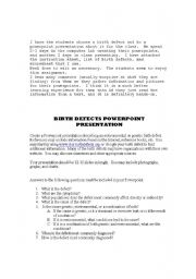 English Worksheets: Birth Defects Powerpoint Presentation