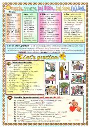 English Worksheet: MUCH, MANY, (A) LITTLE, (A) FEW, (A) LOT