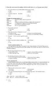 English Multiple Choice Test Upper Elementary Level - ESL ... Multiple Choice Test Elementary