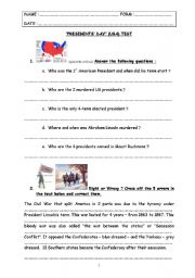 special days - test step 18 - Presidents´ Day