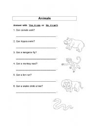 english worksheets animals abilities can can t. Black Bedroom Furniture Sets. Home Design Ideas