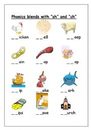 Printables Collect The Pictures That Begin Ch And Sh worksheet ch sh initial sound blends english blends