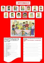 English Worksheet: My family - place prepositions - describing people