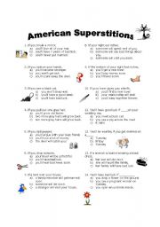 English Worksheet: American Superstitions Quiz - 1st conditional
