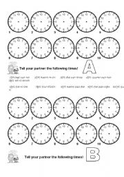 English Worksheet: Telling the time - pair dictation!