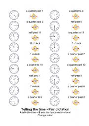 English Worksheet: Telling the time - partner game!