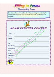 English Worksheets: Filling in Forms - Membership Form -**fully editable