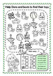 English worksheet: Help Dora and Boots to find their toys