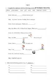 English worksheets: sport conversation and numbers