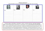 English Worksheets: FAMOUS AMERICANS  I