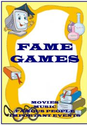 English Worksheet: FAME GAMES - learning games for movies, music, famous people and important events