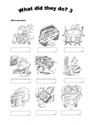 English Worksheets: What did they do? 3