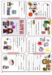 English Worksheet: All About Me Mini Book