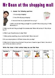 English Worksheet: Mr Bean at the shopping mall - VIDEO SESSION (7:54)