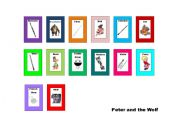 English Worksheet: Peter and The Wolf Mini Flashcards