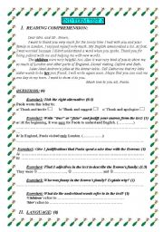English Worksheets: 7th formers reading comprehension test