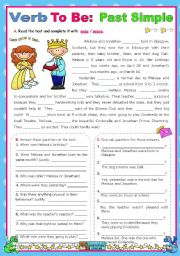 English Worksheets: Verb To Be  -  Simple Past  -  Context: a school play - Cinderella
