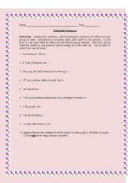 English Worksheets: UNFINISHED SENTENCES