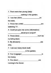 English Worksheets: phural noun