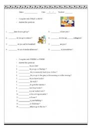 English Worksheets: What - How - Where - When