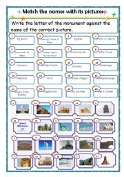 English Worksheet: answer sheet  of the wonders of the world