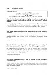 English Worksheets: OPIc [Leisure & Exercise]