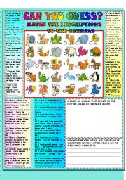 English Worksheet: CAN YOU GUESS THE ANIMAL? B&W version+ key