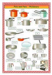 English Worksheet: Pots and Pans-pictionary