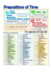English Worksheet: In-On-At Time Prepositions