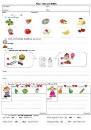 English Worksheet: Test Food + Likes and dislikes