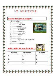 English Worksheets: my activities
