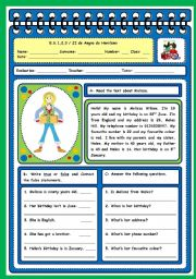 English Worksheets: TEST ON BIRTHDAYS (PAGE 1)