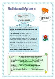 English Worksheet: USED TO/BE USED TO/GET USED TO