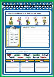 English Worksheets: TEST ON BIRTHDAYS (PAGES 2, 3 AND 4)