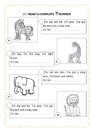 English Worksheets: Guess the wild animal