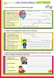 English Worksheet: Writing Series (20) - My  Routine on Saturdays  -  2nd lesson of 45 minutes on the topic for Upper Elementary and Lower Intermediate stds