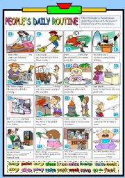 English Worksheets: PEOPLE�S DAILY ROUTINE (B&W VERSION+KEY INCLUDED)