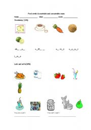 English Worksheets: food nouns